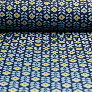 Sélection Coup de coudre - Tissu Popeline de Coton Enduit Imprimé Fleurs sur le Fond Bleu Marine