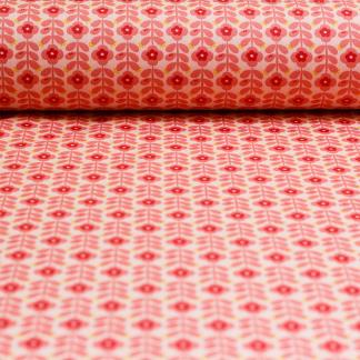 Sélection Coup de coudre - Tissu Popeline de Coton Enduit Imprimé Fleurs sur le Fond Rose