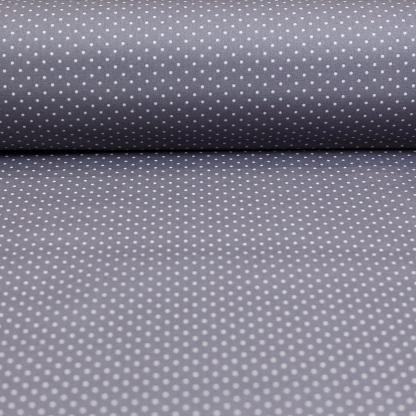 Sélection Coup de coudre - Tissu Popeline de Coton Enduit Imprimé Pois Blancs sur le Fond Gris Taupe