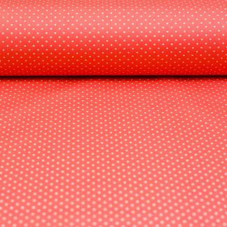 Sélection Coup de coudre - Tissu Popeline de Coton Enduit Imprimé Pois Blancs sur le Fond Rose Corail