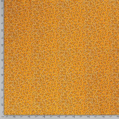 Sélection Coup de coudre - Tissu Popeline de Coton Imprimé Boutons de Fleurs sur le Fond Jaune Orangé