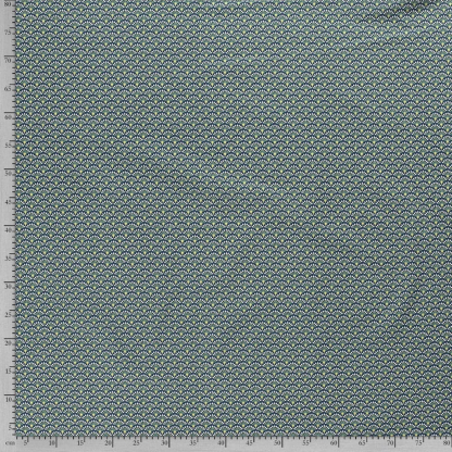 Sélection Coup de coudre - Tissu Popeline de Coton Imprimé Eventails sur le Fond Vert Canard