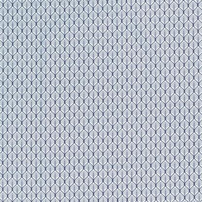 Sélection Coup de coudre - Tissu Popeline de Coton Imprimé Feuilles sur le Fond Bleu Clair