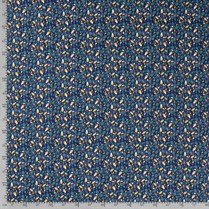 Sélection Coup de coudre - Tissu Popeline de Coton Imprimé Feuilles sur le Fond Bleu Marine