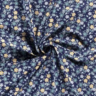 Sélection Coup de coudre - Tissu Popeline de Coton Imprimé Fleurs et Feuilles sur le Fond Bleu Marine