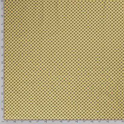 Sélection Coup de coudre - Tissu Popeline de Coton Imprimé Petits Fleurs et Feuilles sur le Fond Jaune Ocre