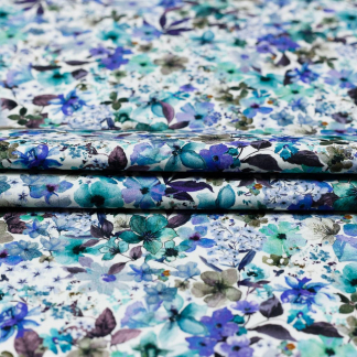 Sélection Coup de coudre - Tissu Satin de Coton Imprimé Fleurs Aquarelle sur le Fond Blanc