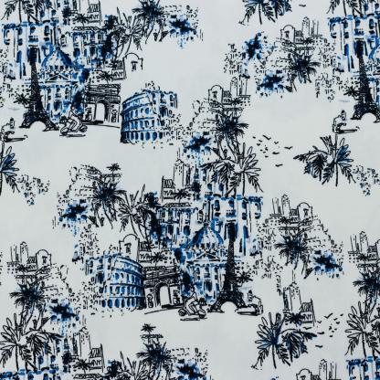Sélection Coup de coudre - Tissu Satin de Coton Imprimé Monuments Parisiens sur le Fond Blanc