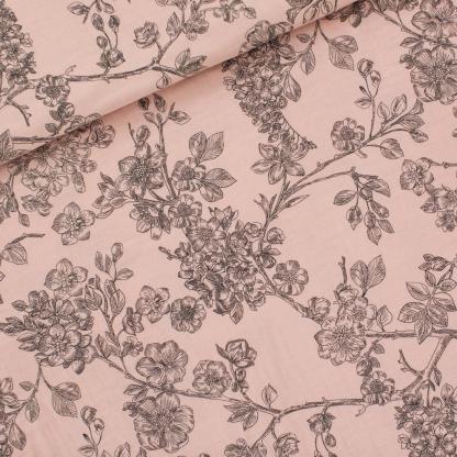 """See You at Six - Tissu Double Gaze de Coton Imprimé Fleurs """"Cherry Blossom"""" sur le Fond Rose Pâle"""