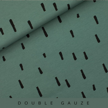 See You at Six - Tissu Double Gaze de Coton Imprimé Rayures Swipes sur le Fond Vert Armoise