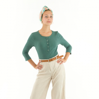 See You at Six - Tissu Jersey Bord-Cotes Uni Couleur Blanc Vert Armoise