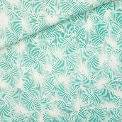 """See You at Six - Tissu Jersey Sweat Léger de Coton Imprimé Feuilles """"Fan Leaves"""" sur le Fond Blanc Sel de Mer"""