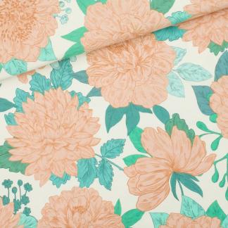 """See You at Six - Tissu Jersey Sweat Léger de Coton Imprimé Fleurs """"Peonies"""" sur le Fond Blanc Sel de Mer"""
