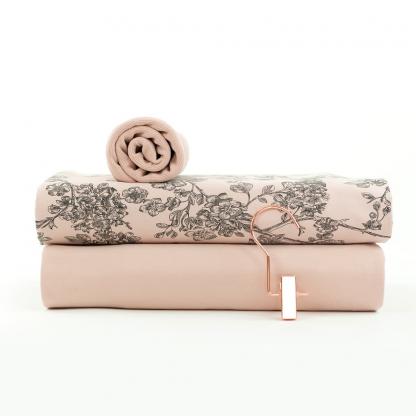 """See You at Six - Tissu Jersey Sweat Léger de Coton Imprimé Fleurs """"Cherry Blossom"""" sur le Fond Rose Pâle"""