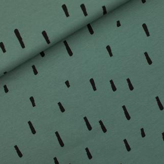 """See You at Six - Tissu Jersey Sweat Léger de Coton Imprimé Rayures """"Swipes"""" sur le Fond Vert Armoise"""