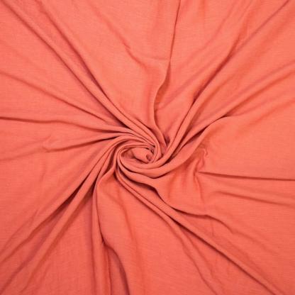 Fibre Mood - Tissu Crépon de Viscose Uni Couleur Corail