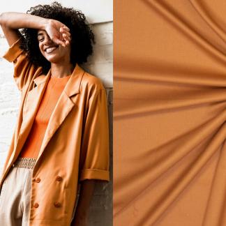 Fibre Mood - Tissu Gabardine Souple de Bambou et Polyester Recycle Uni Couleur Jaune Miel