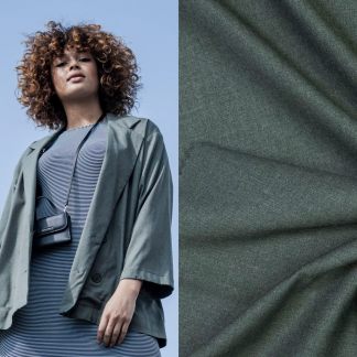 Fibre Mood - Tissu Gabardine Souple de Bambou et Polyester Recycle Uni Couleur Vert Gris