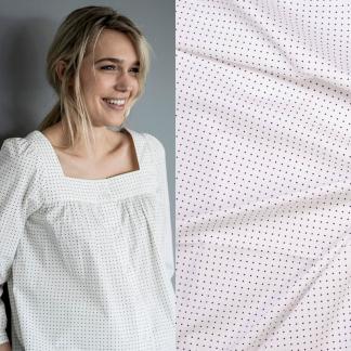 Fibre Mood - Tissu Popeline de Coton Imprimé Petites Etoiles sur le Fond Blanc Cassé
