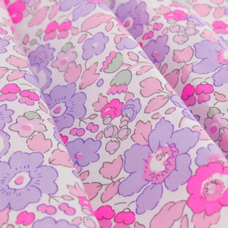 Liberty London - Tissu Betsy Tana Lawn Coton Violet Clair et Rose Fluo