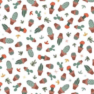 """Michael Miller - Tissu Popeline de Coton Imprimé Cactus en Pots """"Looking Sharp"""" sur le Fond Blanc"""