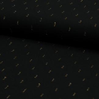 Sélection Coup de coudre - Tissu Challis de Viscose Plumetis aux Points Dorés sur le Fond Noir
