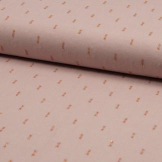 Sélection Coup de coudre - Tissu Challis de Viscose Plumetis aux Points Dorés sur le Fond Rose Poudré