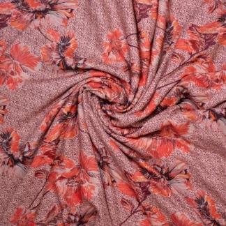 Sélection Coup de coudre - Tissu Crêpe de Viscose Imprimé Gros Fleurs sur le Fond Rose