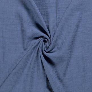 Sélection Coup de coudre - Tissu Double Gaze de Coton Uni Couleur Bleu Indigo
