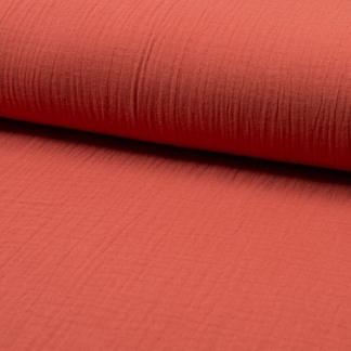 Sélection Coup de coudre - Tissu Double Gaze de Coton Uni Couleur Rouge Corail
