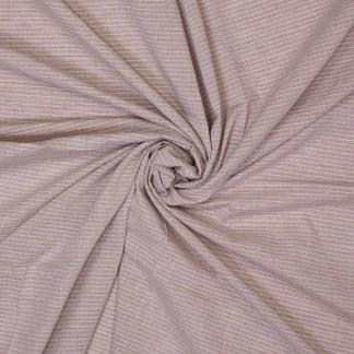 Sélection Coup de coudre - Tissu Popeline de Coton à Rayures Fines Beige et Blanc Tissé Teint
