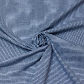 Sélection Coup de coudre - Tissu Popeline de Coton à Rayures Fines Bleu et Blanc Tissé Teint