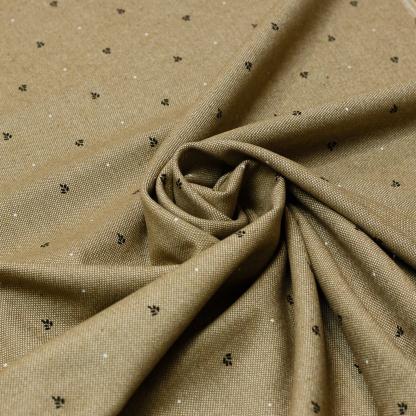 Sélection Coup de coudre - Tissu Toile de Coton Rustique Imprimé Petits Feuilles sur le Fond Beige