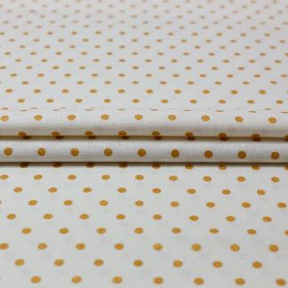 Sélection Coup de coudre - Tissu Toile de Lin et Viscose aux Pois Dorés sur le Fond Blanc