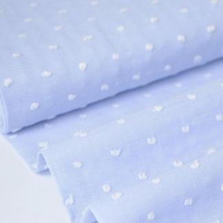 Sélection Coup de coudre - Tissu Voile de Coton Plumetis aux Points Blancs sur le Fond Bleu Ciel