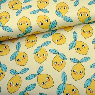 Eva Mouton - Tissu Jersey de Coton Bio Imprimé Citrons sur le Fond Jaune Clair