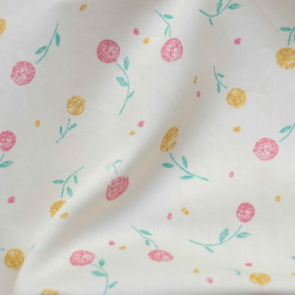 Lise Tailor - Tissu Satin de Coton Imprimé Fleurs sur le Fond Creme
