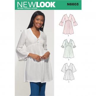 New Look – Patron Femme Blouse n°6603 du 36 au 48