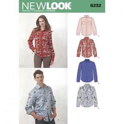New Look – Patron Homme et Femme Chemise n°6232 du 36 au 46