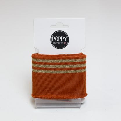 Poppy - Tissu Jersey Bord-Cotes à Rayures Lurex Doré sur le Fond Rouille (Carte de 135 cm)