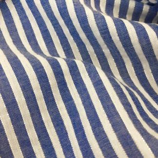 Sélection Coup de coudre - Tissu Popeline de Coton à Rayures Bleu Marines et Lurex Tissé Teint