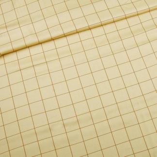 Sélection Coup de coudre - Tissu Twill de Viscose à Motif Carreaux Marrons sur le Fond Jaune Pale