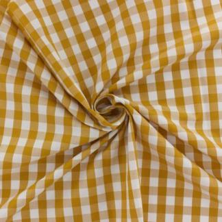 Sélection Coup de coudre - Tissu Vichy de Coton à Carreaux Jaune Safran sur le Fond Blanc
