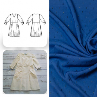 Christine Charles – Kit Couture Robe Eleanora Viscose Plumetis Uni Couleur Bleu