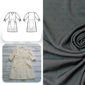 Christine Charles – Kit Couture Robe Eleanora Viscose Plumetis Uni Couleur Kaki