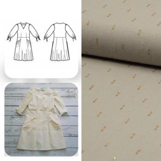 Christine Charles – Kit Couture Robe Eleanora Viscose Plumetis Uni Couleur Sable Blanc