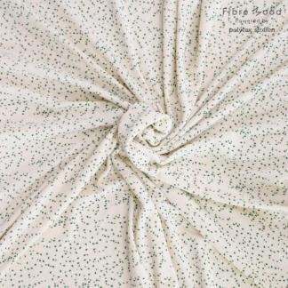 Fibre Mood - Tissu Jersey Micro-éponge de Coton Imprimé Taches Vertes sur le Fond Crème