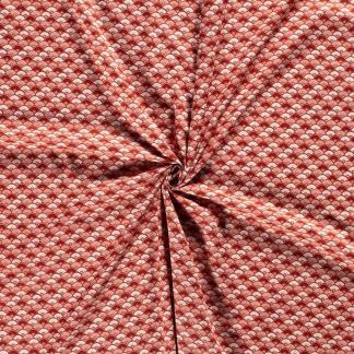 Sélection Coup de coudre - Tissu Popeline de Coton Imprimé Eventails sur le Fond Rouge