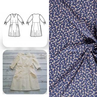 Christine Charles – Kit Couture Robe Eleanora Viscose Imprimé Petits Fleurs sur le Fond Bleu Denim
