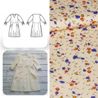 Christine Charles – Kit Couture Robe Eleanora Viscose Imprimé Petits Fleurs sur le Fond Crème